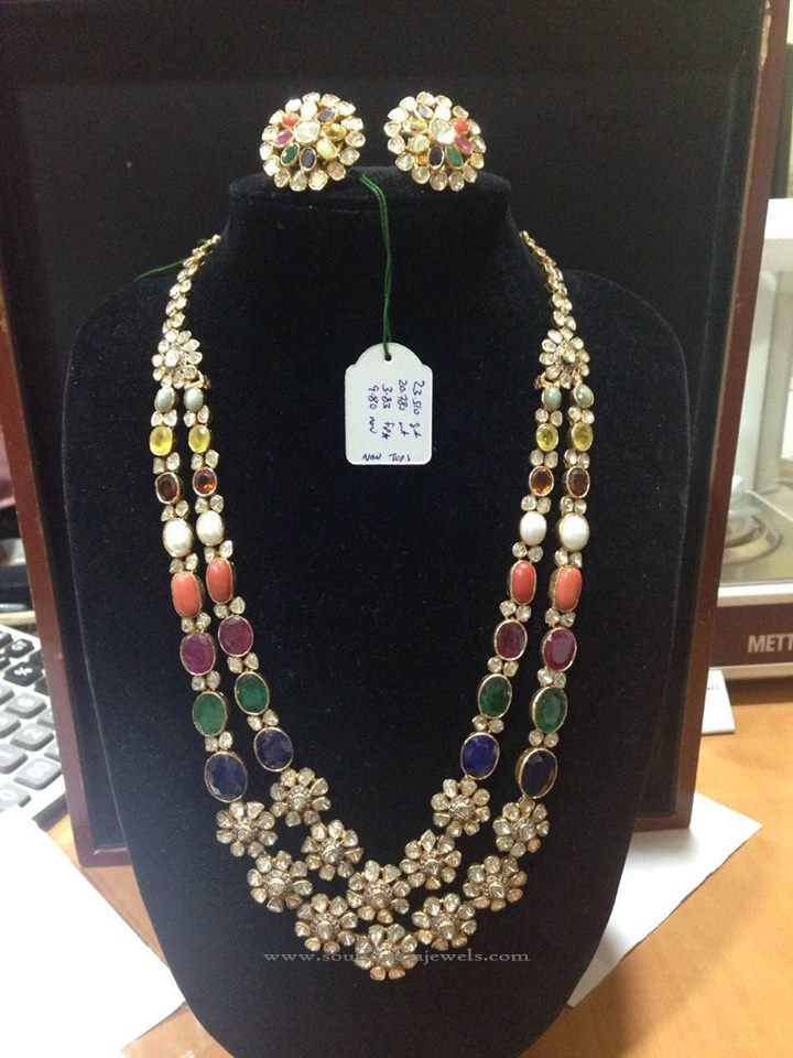 Gold Long Haram with Corals, Pearls, Gemstones