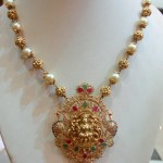 Gold Pearl Mala with Lakshmi Pendant