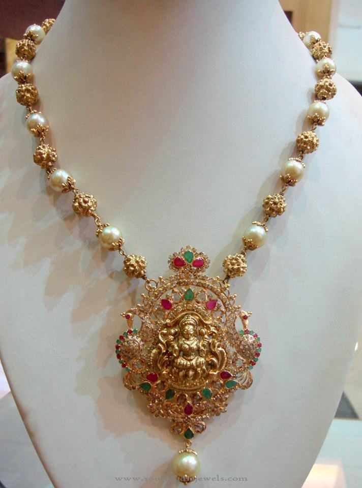 Gold pearl mala with lakshmi pendant south india jewels for Cheap gold jewelry near me