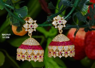 Gold Plated CZ Stone Jhumka