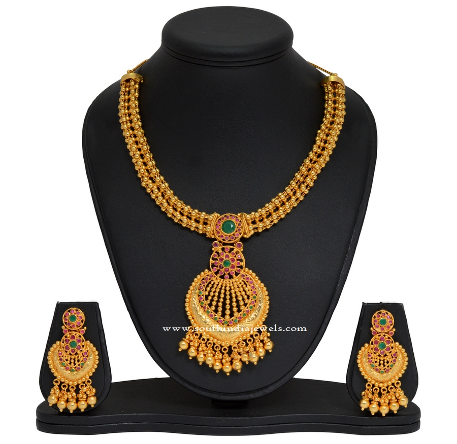 Artificial Gold Like Necklace and Earrings