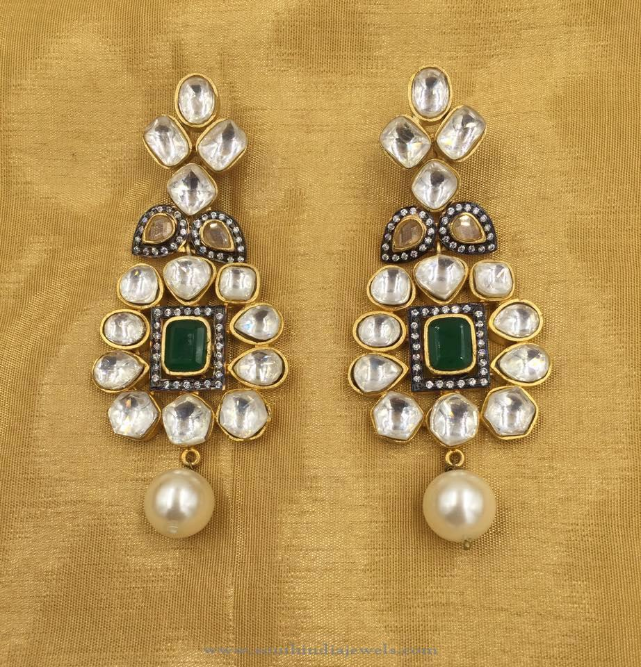 Gold Plated Kundan Earrings ~ South India Jewels