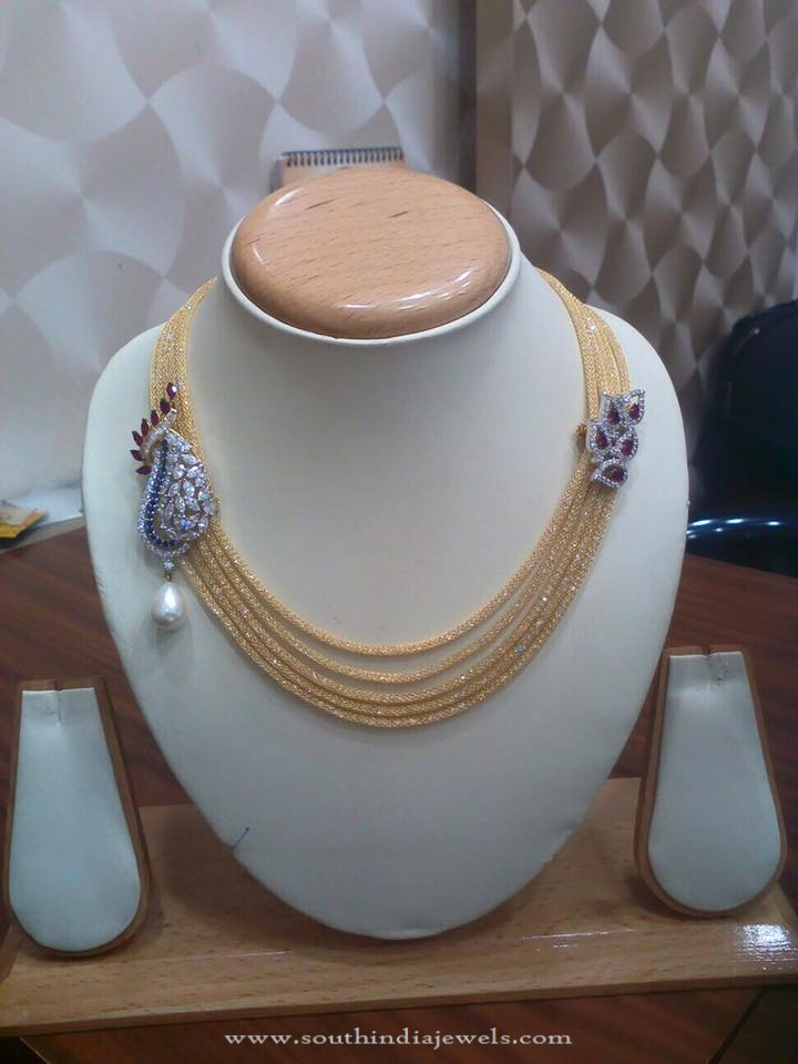 Gold Short Multilayer Designer Necklace