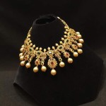 Beautiful Gold Stone Choker Necklace