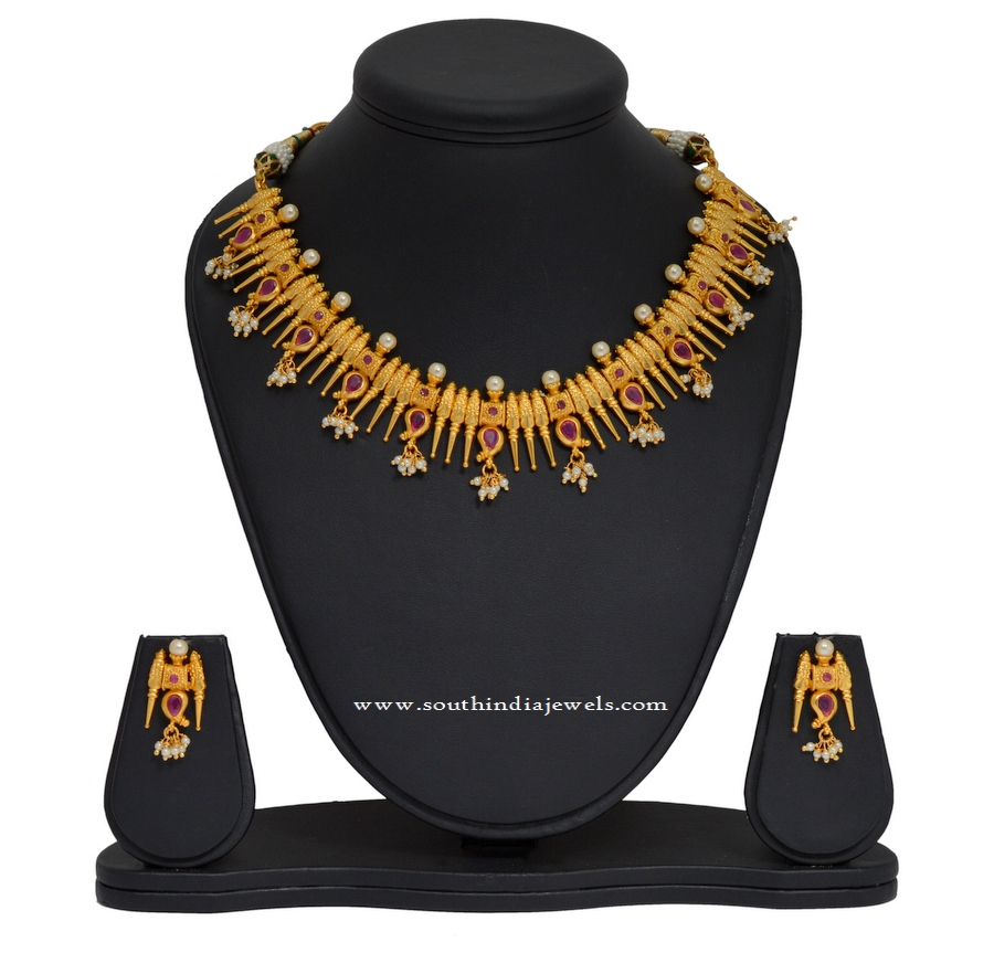 1 Gram Gold Kerala Style Spike Necklace