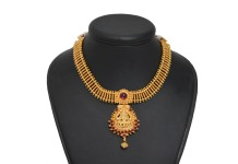 Gold Plated Lakshmi Attigai Necklace and Earrings