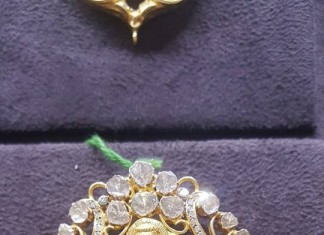 Latest Gold Lakshmi Pendant with White Stones