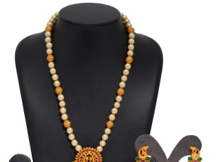 Long Pearl Mala with Jhumka