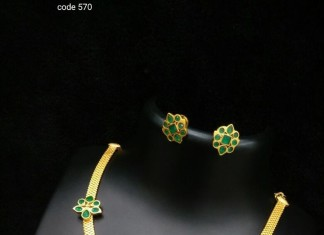 One Gram Gold Necklace Set with Green Stones