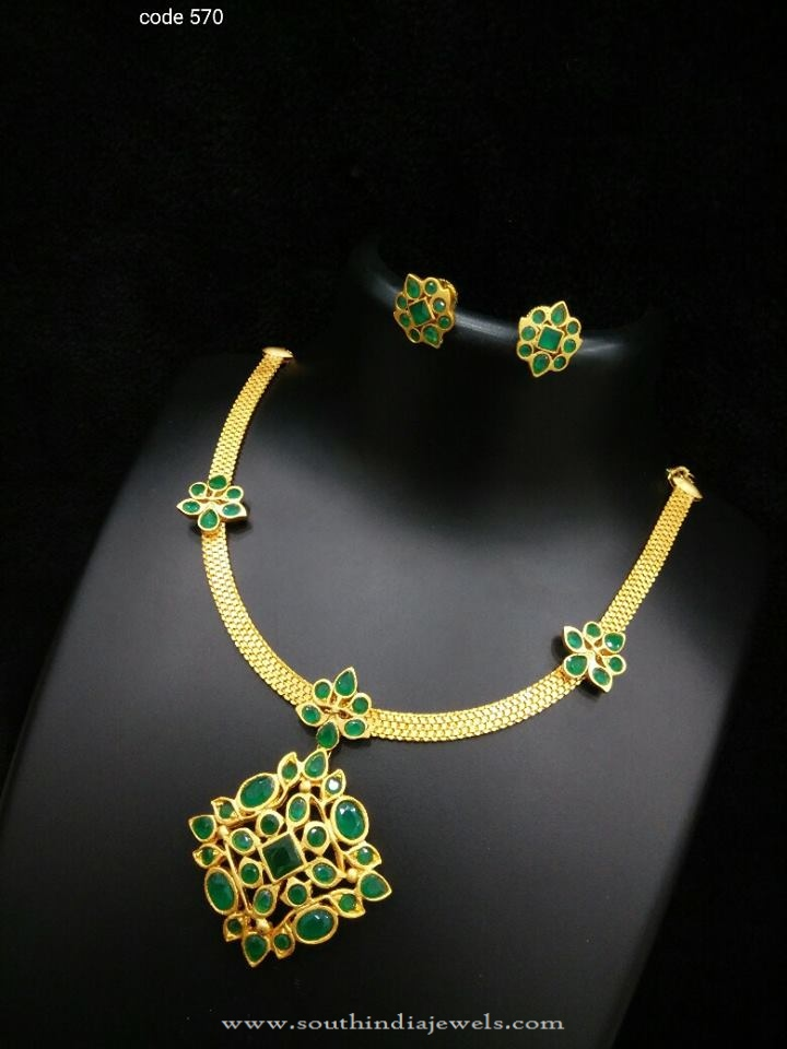 One Gram Gold Green Stone Necklace South India Jewels