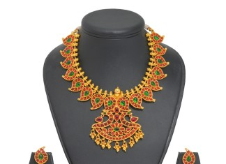 One Gram gold Ruby Mango Necklace with Jhumka