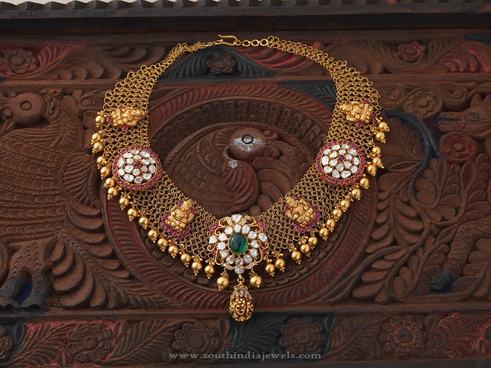 South Indian Gold Temple Necklace Design South India Jewels