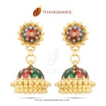 22K Gold Enamel Jhumka Design