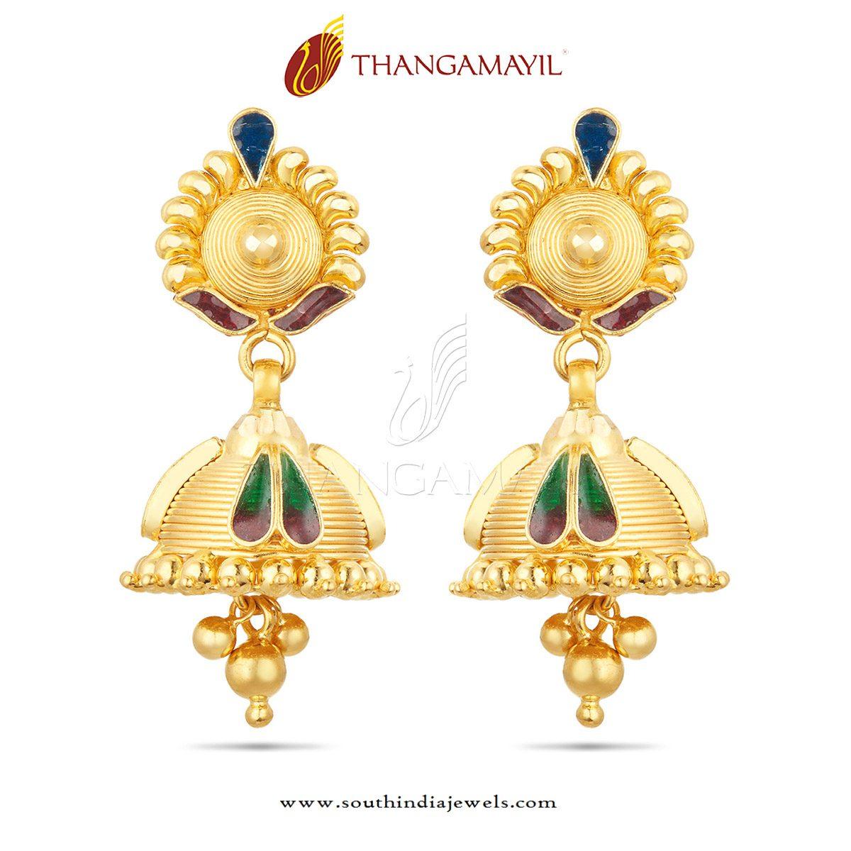 Beautiful Gold Jhumka Design ~ South India Jewels