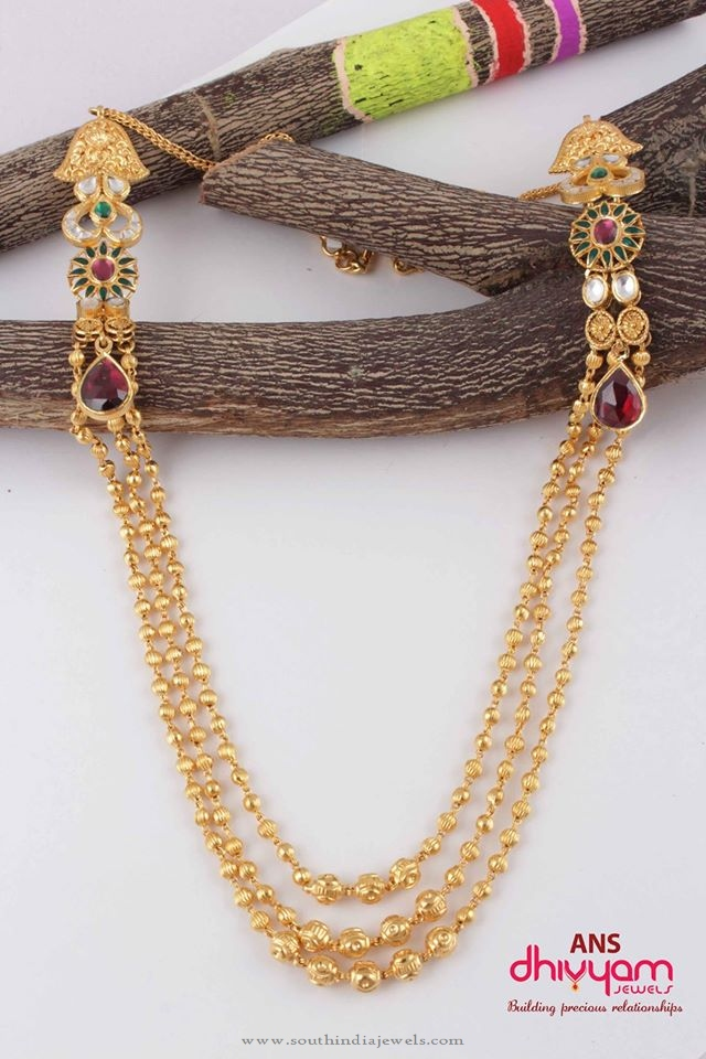 Gold Long Ball Haram with Side Lockets