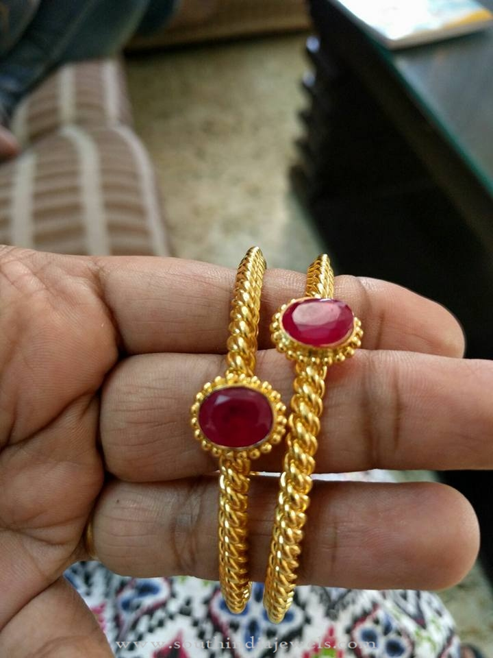 22k simple ruby bangle south india jewels