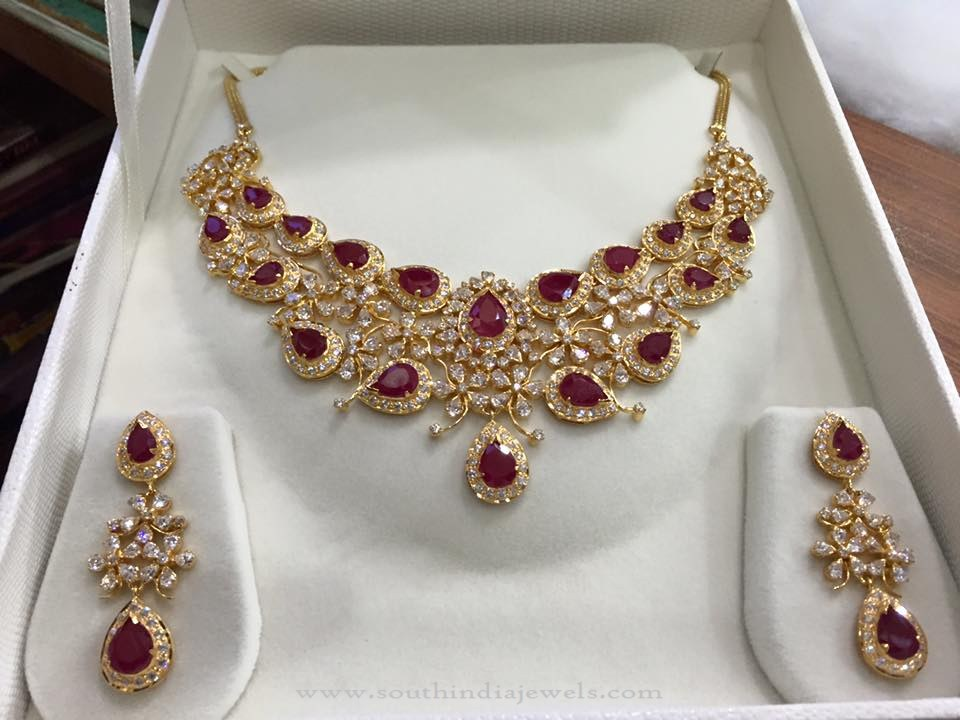 68 Grams Gold Ruby Necklace and Earrings