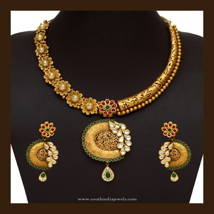 91 Grams Gold Designer Necklace Set