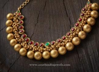 Gold Antique Ball Choker Necklace