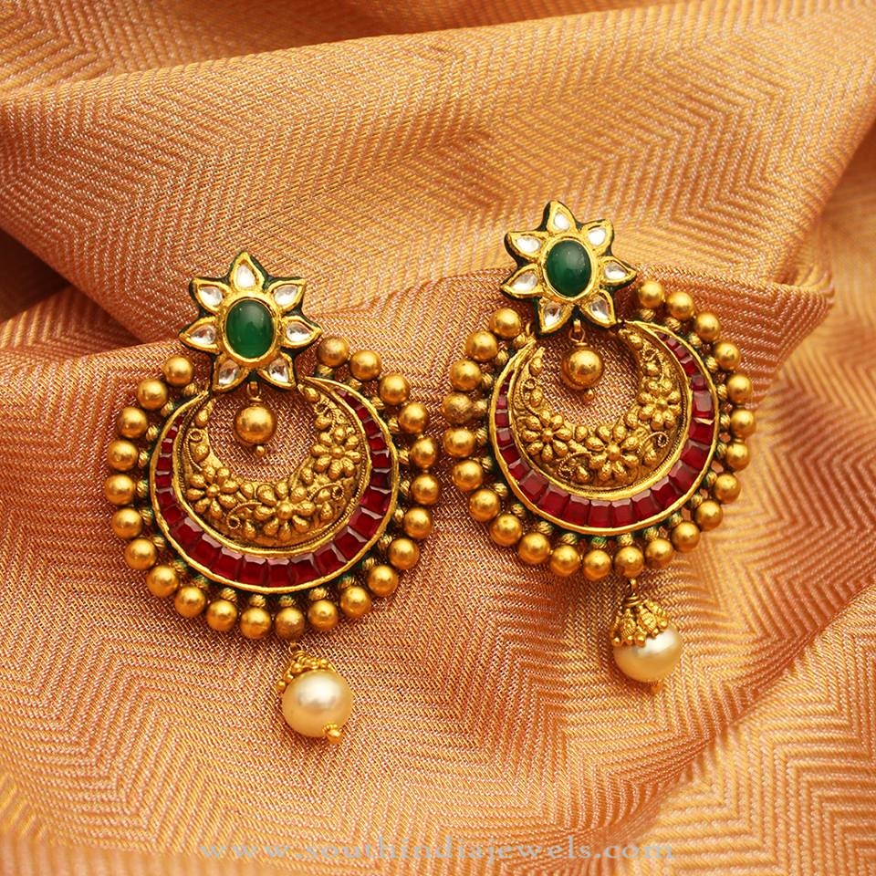 stud antique traditional gold earrings products punjabi jewellery by