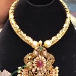 Gold Antique Necklace with Peacock Pendant