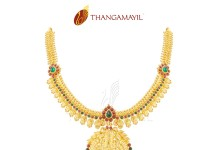Gold Antique Temple Necklace from Thangamayil