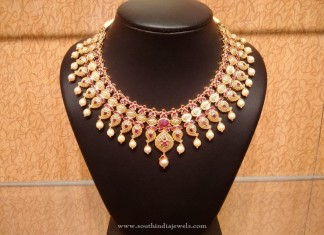 Gold Bridal Ruby Necklace Design