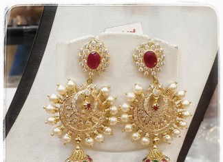 Gold Pearl Chandbali Earrings