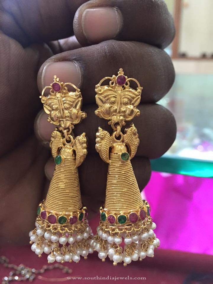 Long Gold Cone Shaped Jhumka Design