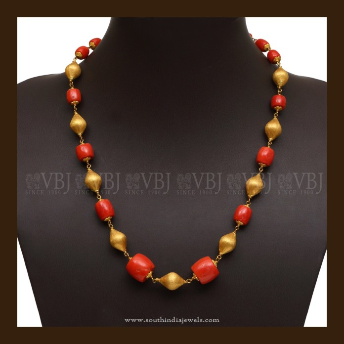 Gold Coral Mala Necklace