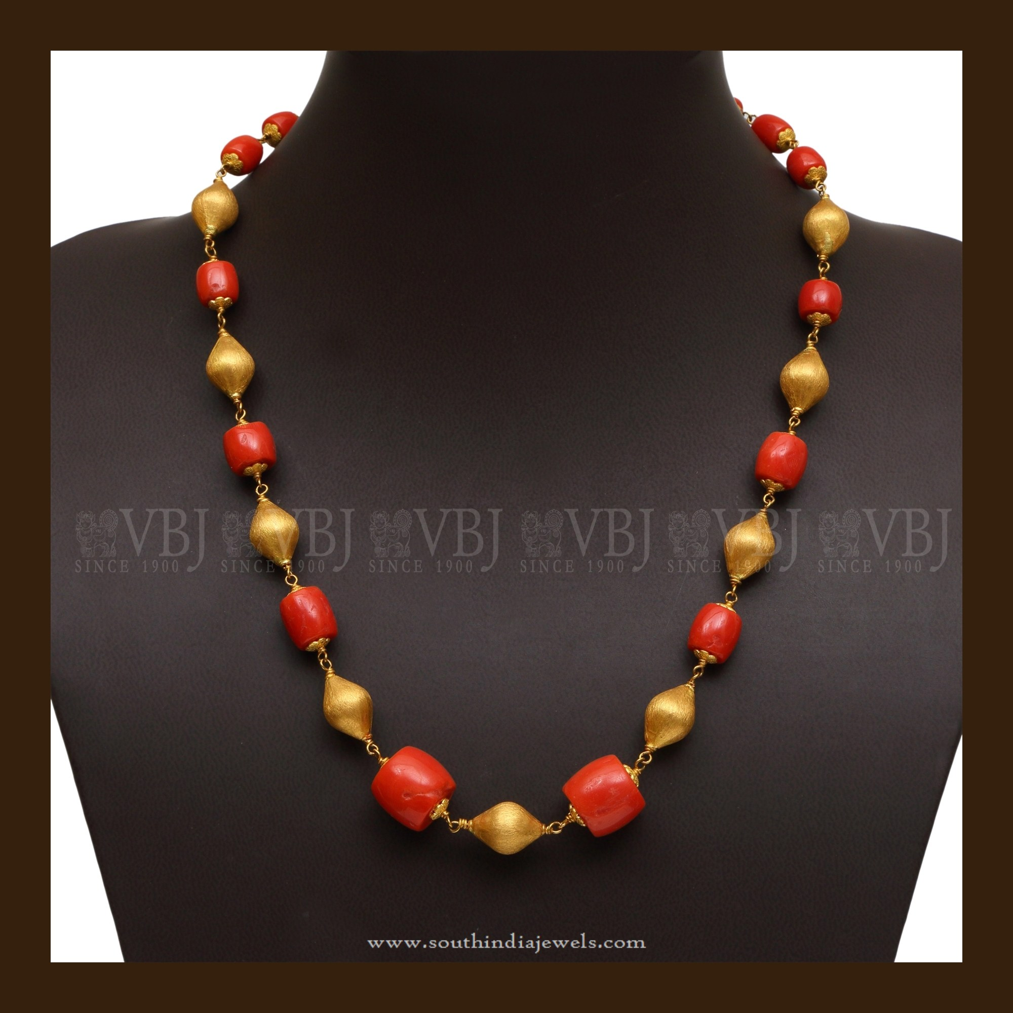 22K Gold Coral Mala South India Jewels
