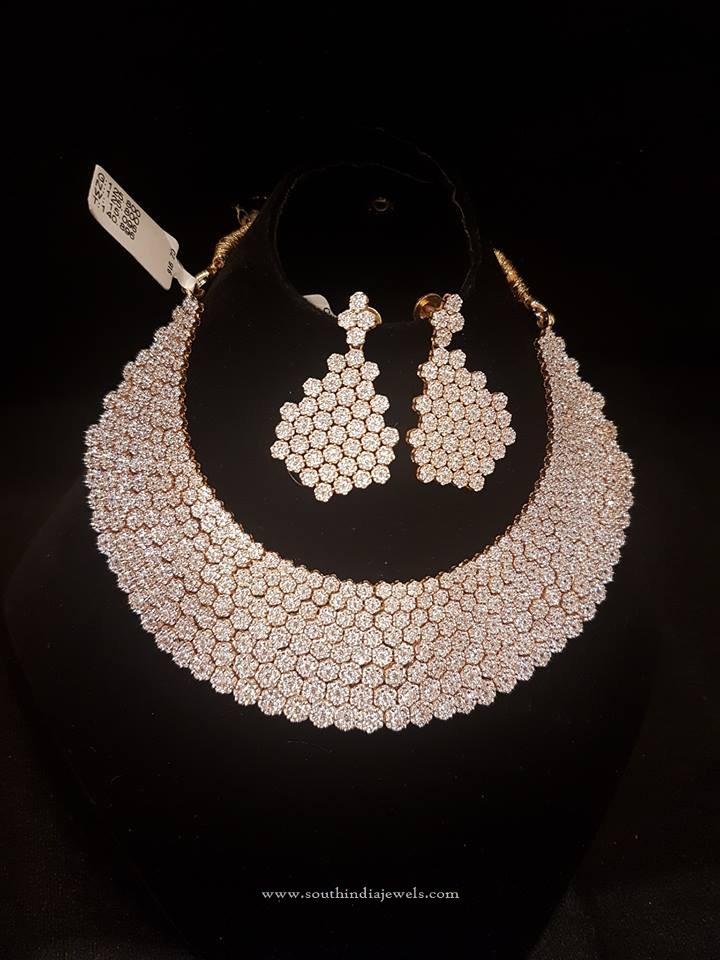 Gold Designer Choke With White Stones