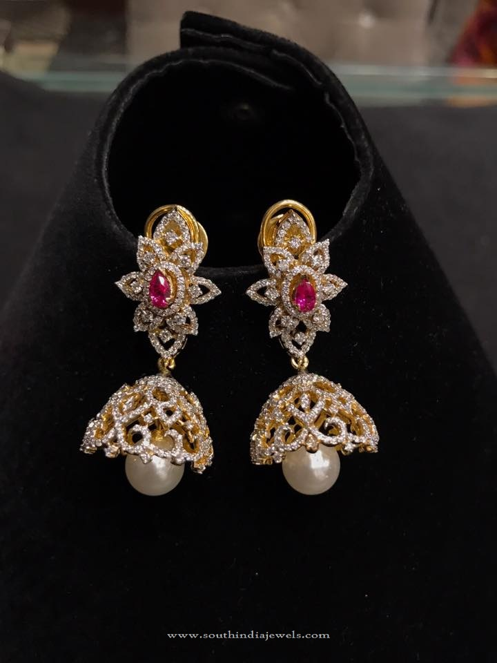 Light Weight Gold Diamond Jhumka 2016 Model