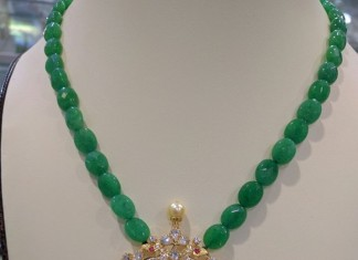 Gold Emerald Beads Necklace