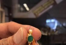 Light Weight Gold Emerald Jhumka