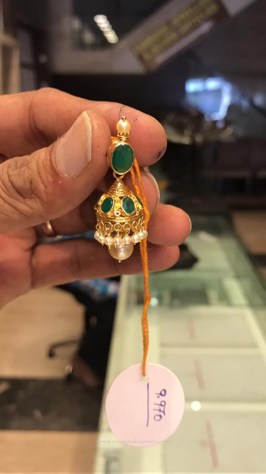 Light Weight Gold Emerald Jhumka