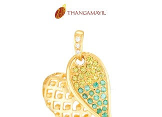 Gold CZ Stone Leaf Pendant