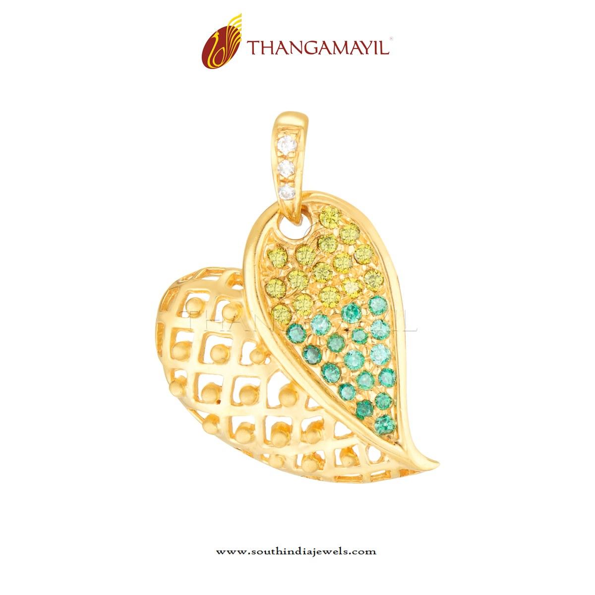 Gold CZ Stone Leaf Pendant ~ South India Jewels