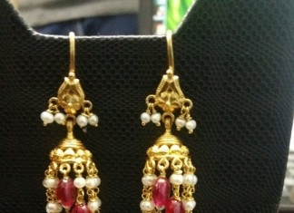 Gold Hoop Jhumka Earrings