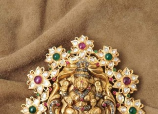 Gold Lakshmi Pendant with White Stones