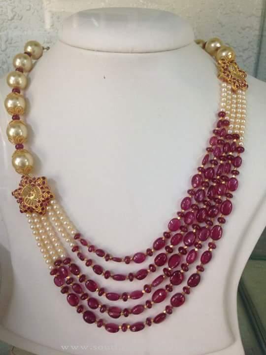 Gold Pearl Ruby Mala South India Jewels