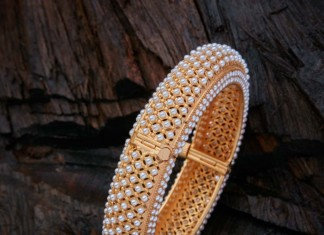 Gold Plated Big Pearl Bangle