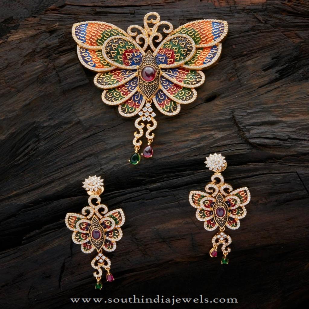 Gold Plated Designer Butterfly Pendant Set