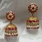 Gold Red Stone Jhumka