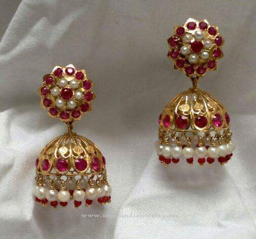 Gold Red Stone Jhumka
