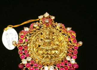 Gold Ruby Lakshmi Temple Pendant