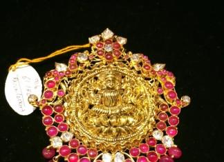 Gold Ruby Lakshmi Temple Pendant