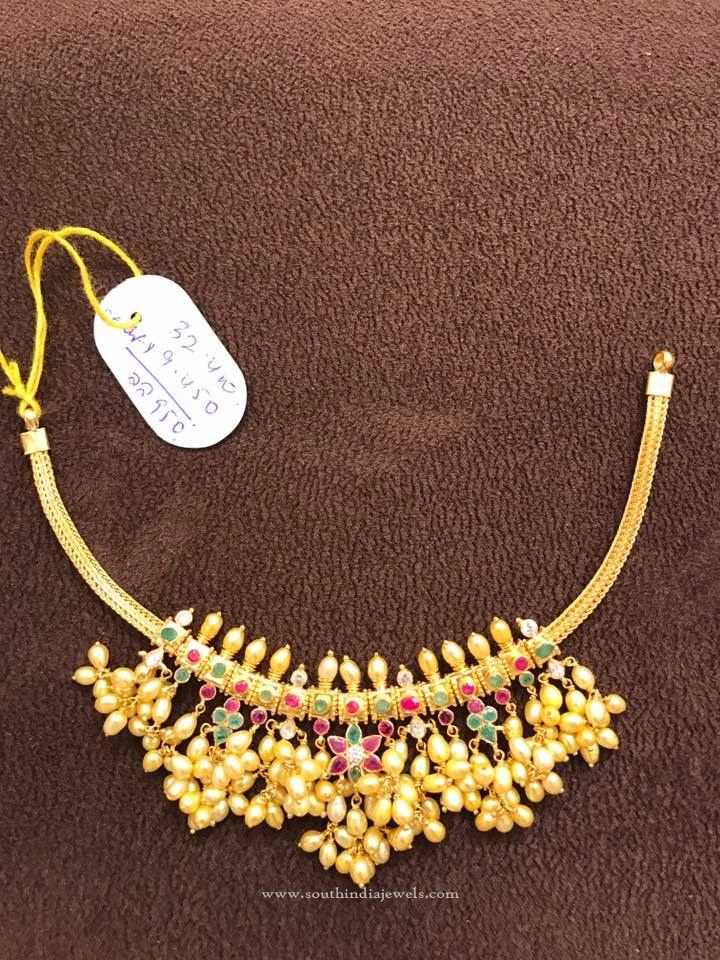 Gold Short Guttapusalu Necklace