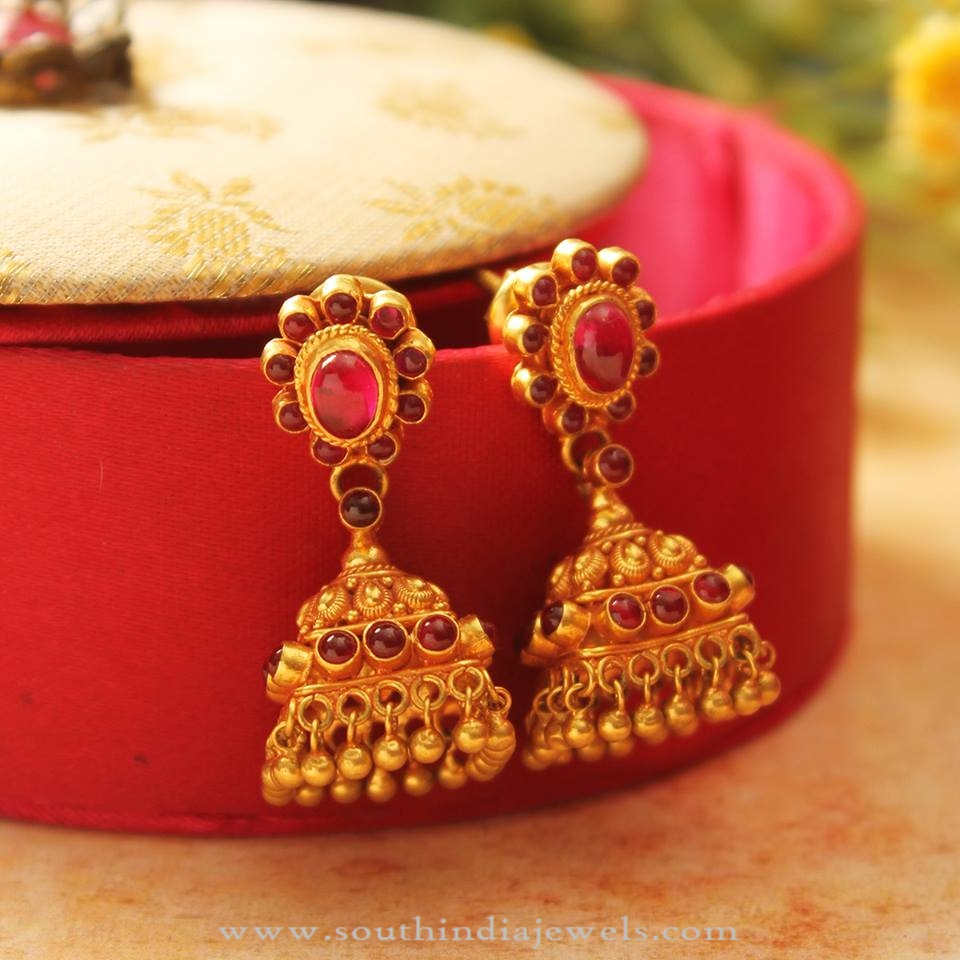 Gold Light Weight Antique Jhumka