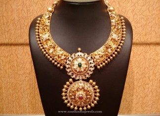 Gold Uncut Diamond Antique Necklace